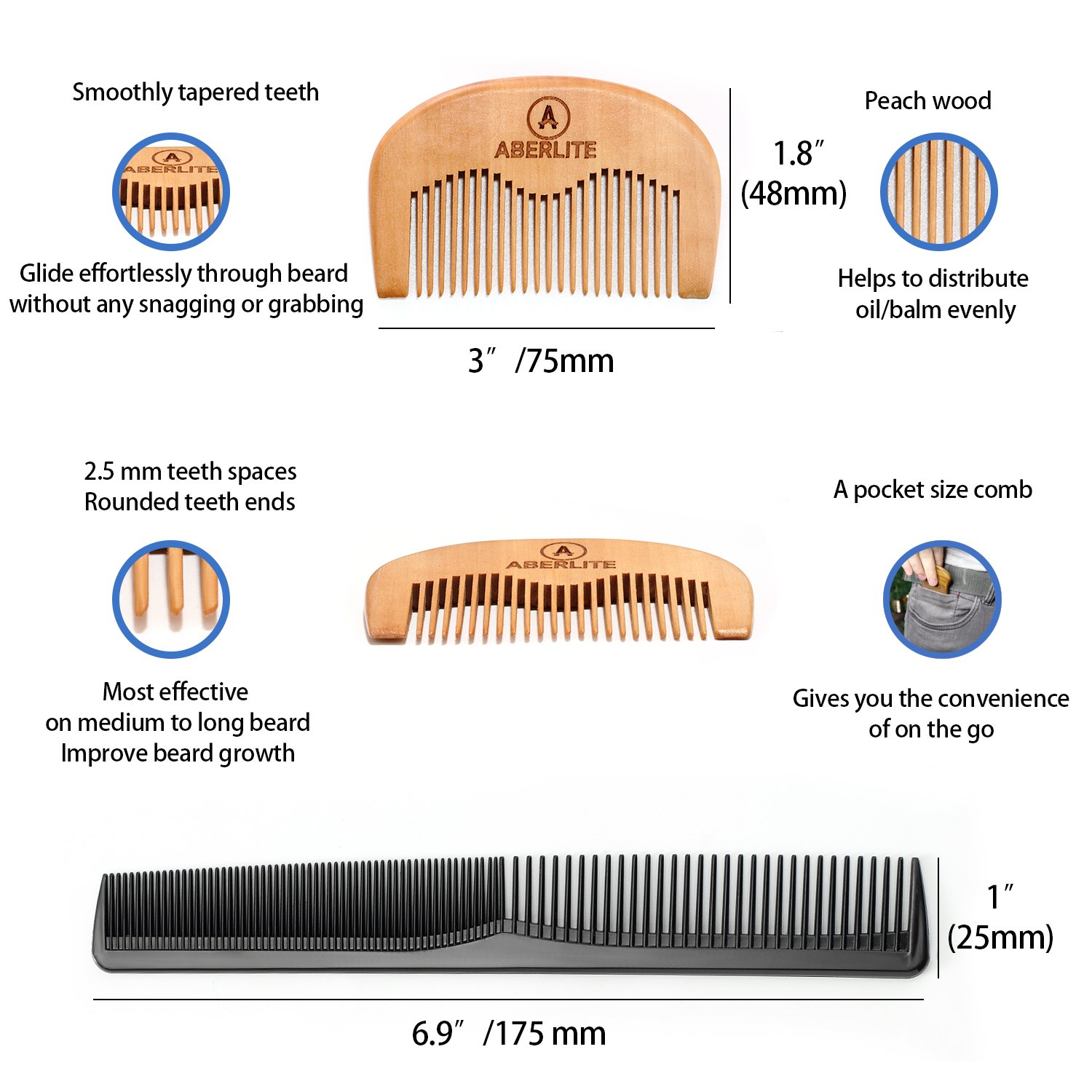 Beard Scissors Kit for Men (5 pcs) | 5'' Professional Beard/Hair Scissors (Japanese Stainless Steel), Travel Size Precision Beard/Mustache Scissor, Pocket Wood Comb, Master Barber Comb, and PU Case Set by Aberlite (Image #7)