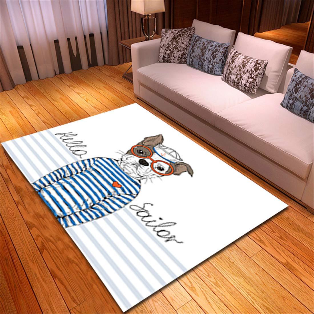 インテリア ラグ カーテン 色 畳 椅子 マットテーブルじゅうたん147X203CM漫画動物手描きのかわいいカーペット寝室ダイニングルームマットリビングルーム材料機械織りリビングルーム B07RHWVHDD l19010516 147X203CM