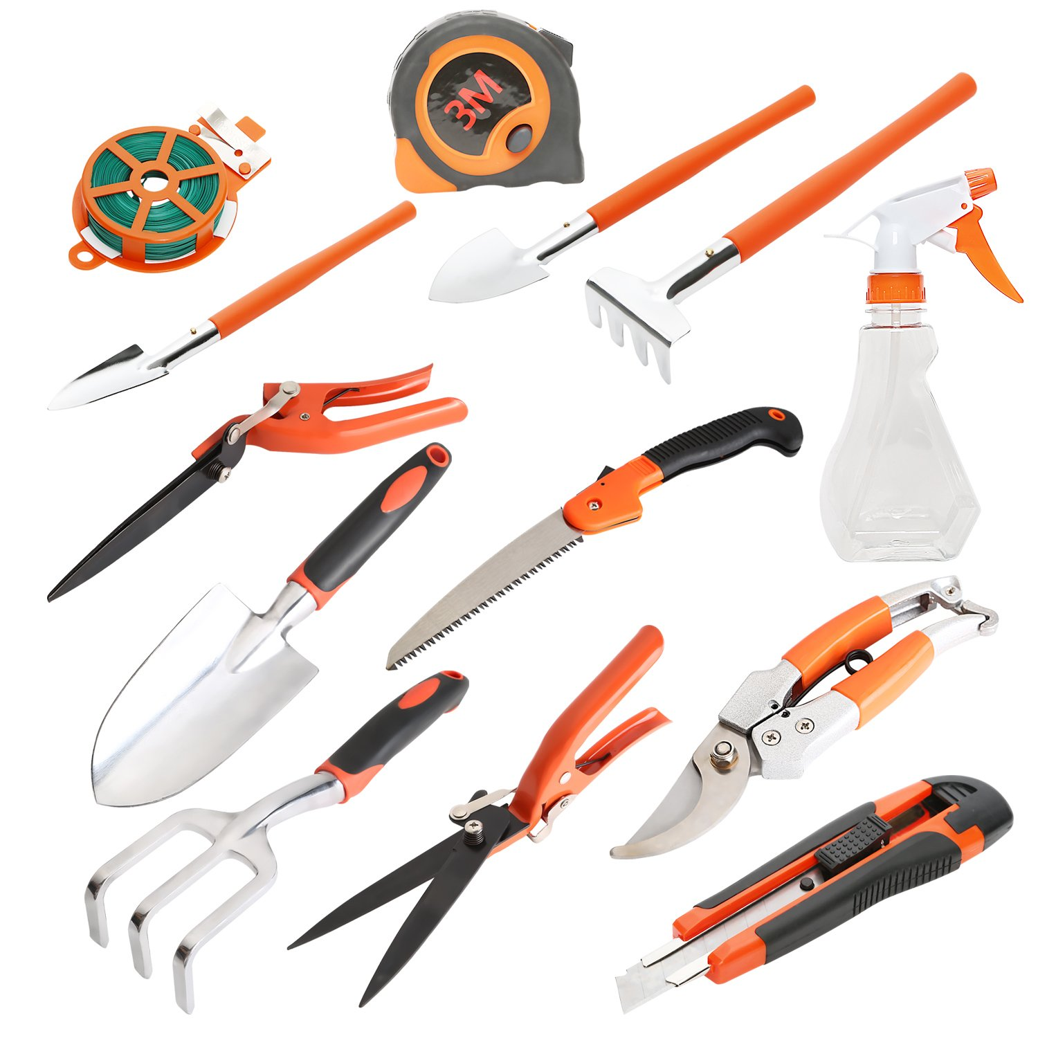 LESOLEIL 12Pcs Garden Hand Tool Set With Secateurs, Pruning Saw, Trowel Pruners by LESOLEIL (Image #2)