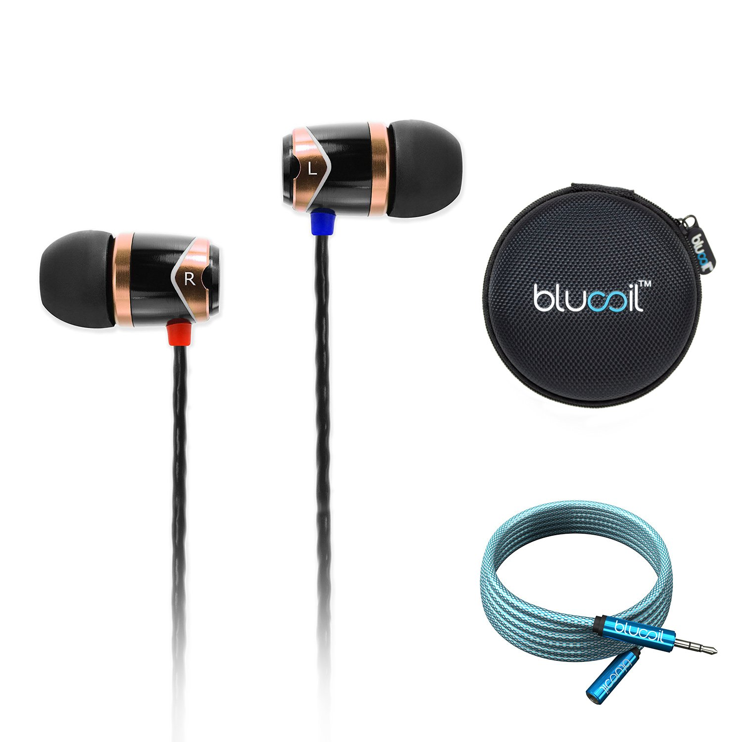 SoundMAGIC E10 Noise Isolating in-Ear Earphones (Gold) Bundle withBlucoil 6-Ft Extension Cable and Portable Earphone Hard Case
