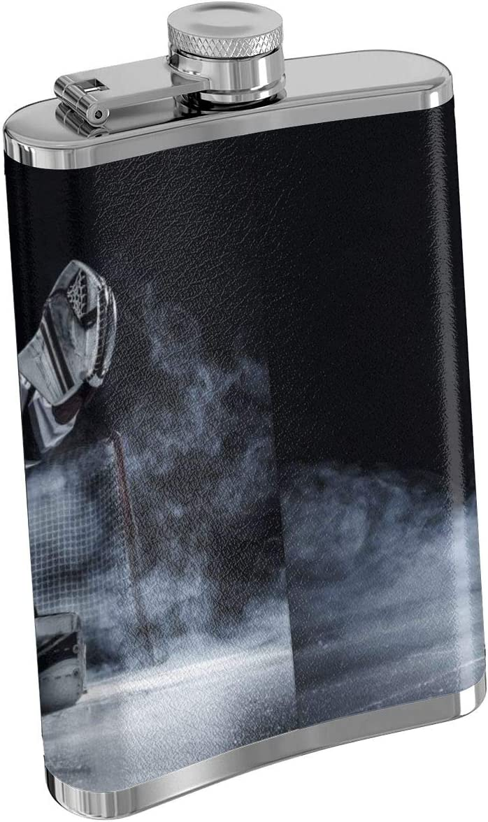 TYUIPO Hockey Goalie Flask for Liquor and Funnel Stainless Steel Flask for Drinking of Alcohol Rum and Vodka 8oz Whiskey