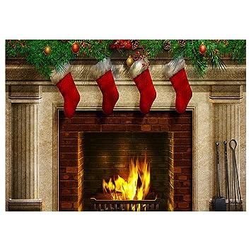 SODIAL(R) Telon de Fondo de Patron de Calcetines de chimenea de Navidad de vinilo Prop de Fotografia 7x5 pies: Amazon.es: Electrónica