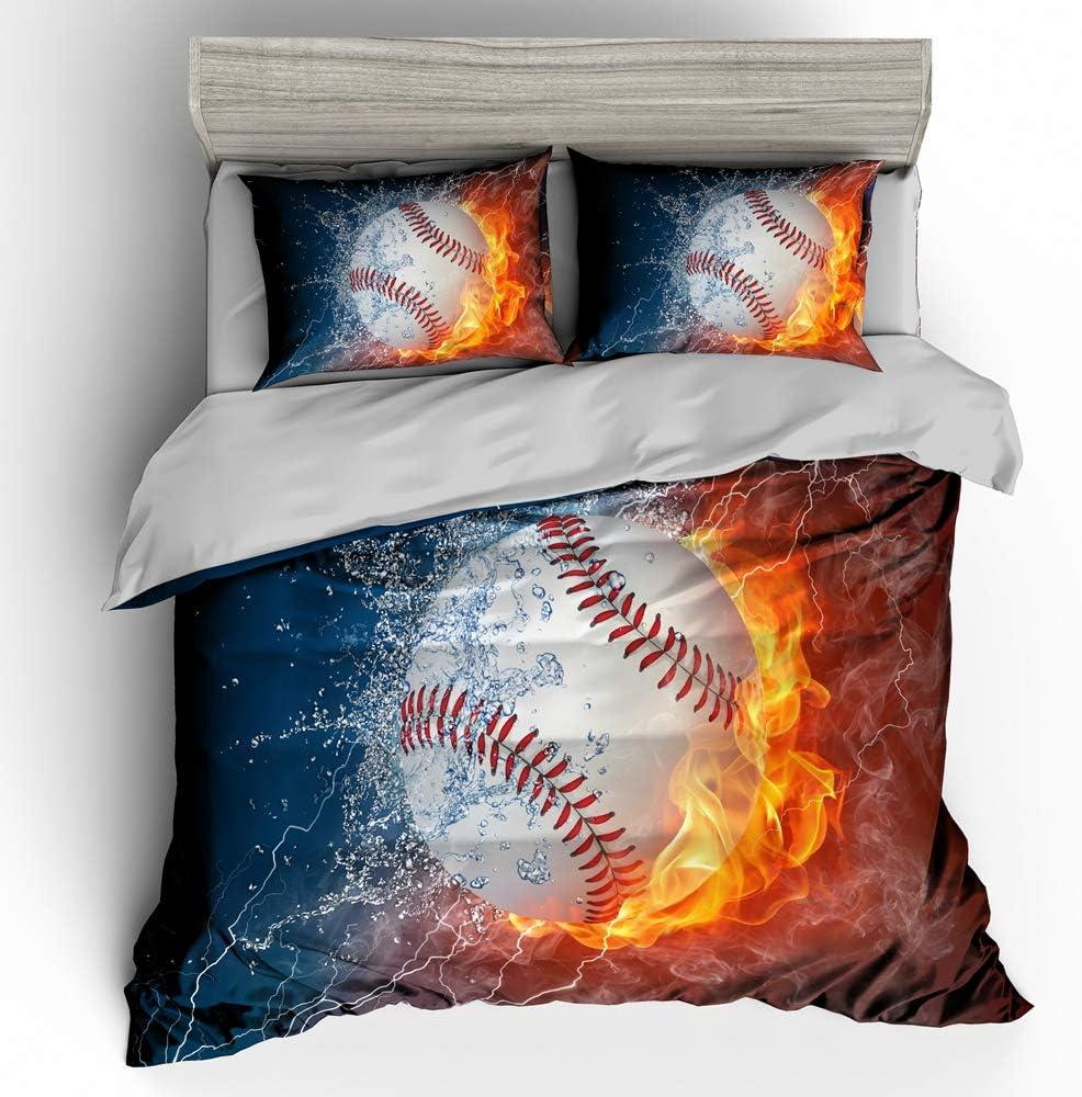 SHOMPE 3D Powerful Cool Baseball Bedding Set,Kids 3 Piece Duvet Cover Set with Pillow Shams for Teens Boys Girls,NO Comforter,Full Size
