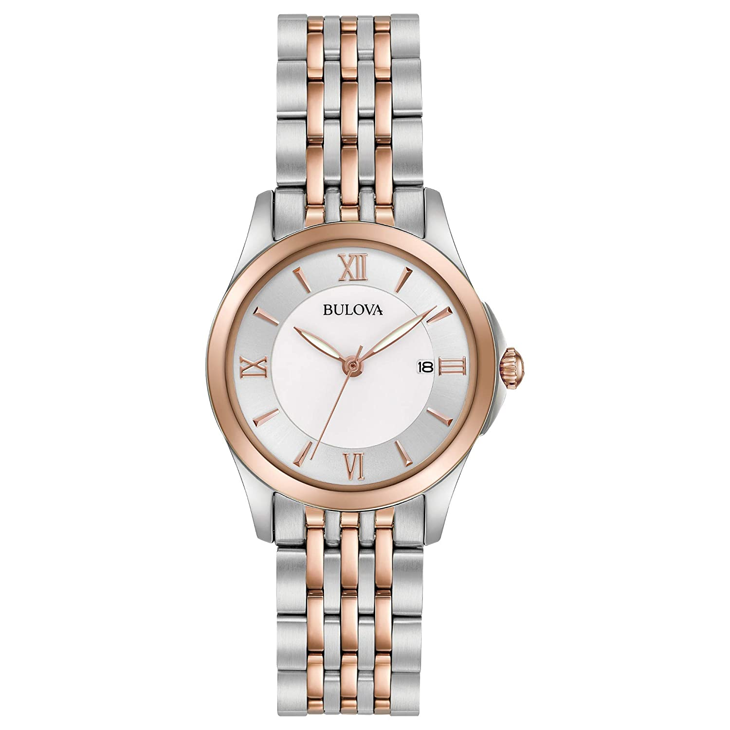 Bulova Women s 27mm Classic Mother of Pearl Dial Two-Tone Stainless Steel Bracelet Watch