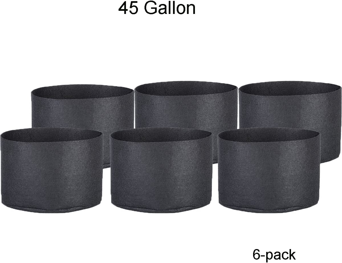 Oppolite 45 Gallon 6-Pack Round Fabric Fabric Aeration Pots Container for Nursery Garden and Planting Grow 45 Gallon 6 Pack