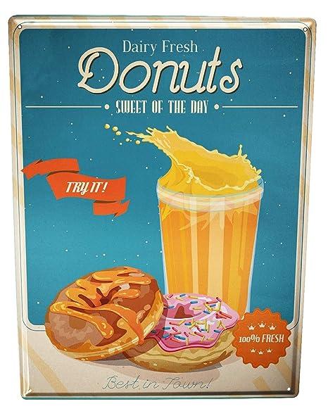 Cartel Letrero de Chapa Restaurante Comida Donuts: Amazon.es ...