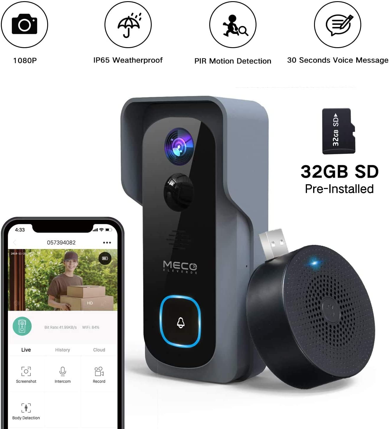 32GB Preinstalled WiFi Video Doorbell MECO 1080P Doorbell Camera with Free Chime, Wireless Doorbell with Motion Detector, Night Vision, IP65 Waterproof, 166 Wide Angle, 2 Way Audio, 2.4GHz WiFi