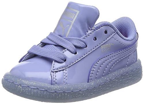 1ee01d04a212 Puma Kids' Basket Patent Iced Glitter Inf Low-Top Sneakers Blue Lavendar  Lustre 02