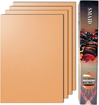 Smaid - Copper Grill Mat Set of 4 - Non-Stick BBQ Grill Mats - FDA-Approved