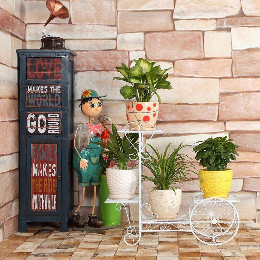 Ripiano per fiori Ron Art Espositore Multi-Strato Balcone Soggiorno con portavaso da Fiori Mensola per Interni Basamento Tridimensionale per Fiori (colore   Bianca, Dimensioni   L.)