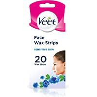Veet Face Easy Grip Precision Wax Strips for Sensitive Skin, 20g