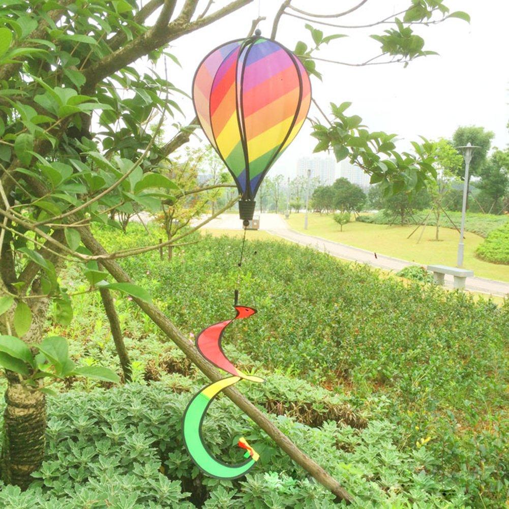 Dairyshop, girandola a vento con mongolfiera dalla lunga coda, a strisce color arcobaleno, adatta per esterni