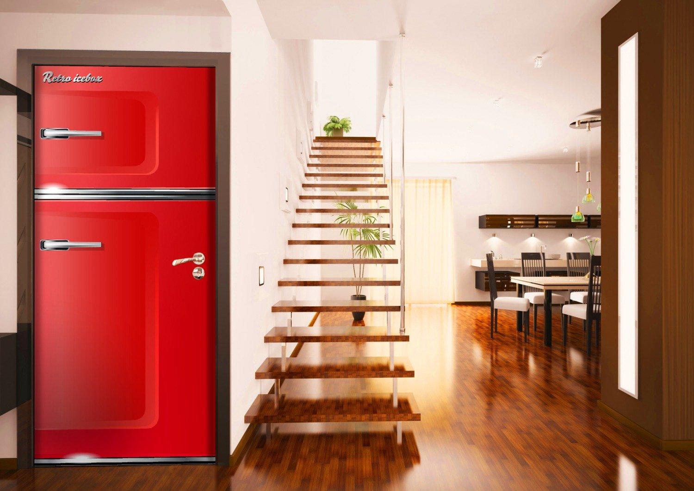 posterdepot ktt0041 Türtapete Türposter Roter Kühlschrank-Größe 93 x 205 cm Aufkleber Dekoartikel