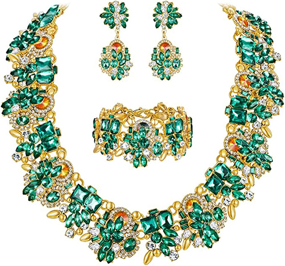 NABROJ Statement Necklaces Set with Rhinestone Crystal Drag Queen Costume Jewelry for Women Carnival 8 Colors 3 Models with Gift Box