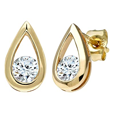 Naava Women s 9 ct Yellow Gold Half Carat Diamond Teardrop