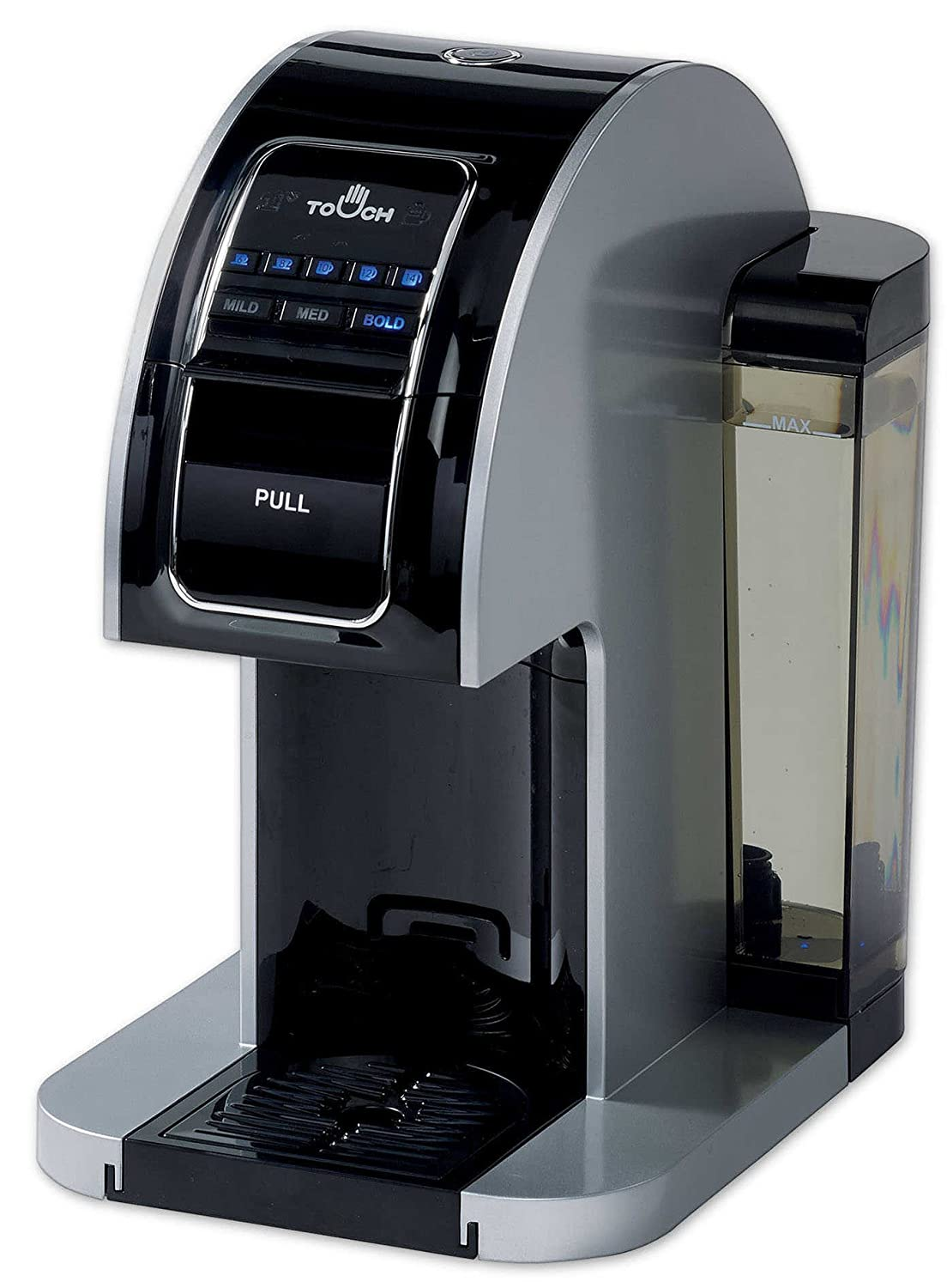 Touch Choice Single Serve Coffee Brewer - Silver Coffee Maker with Full K-Cup Pod Compatibility & Rapid Brew Technology - T414S