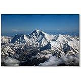 Poster art print: MOUNT EVEREST HIMALAYAS NEPAL SEEN FROM AIRCRAFT DRUKAIR BHUTAN (A3 maxi - 28.8x43.2cm / 11.3x17in, semi-gloss satin paper)