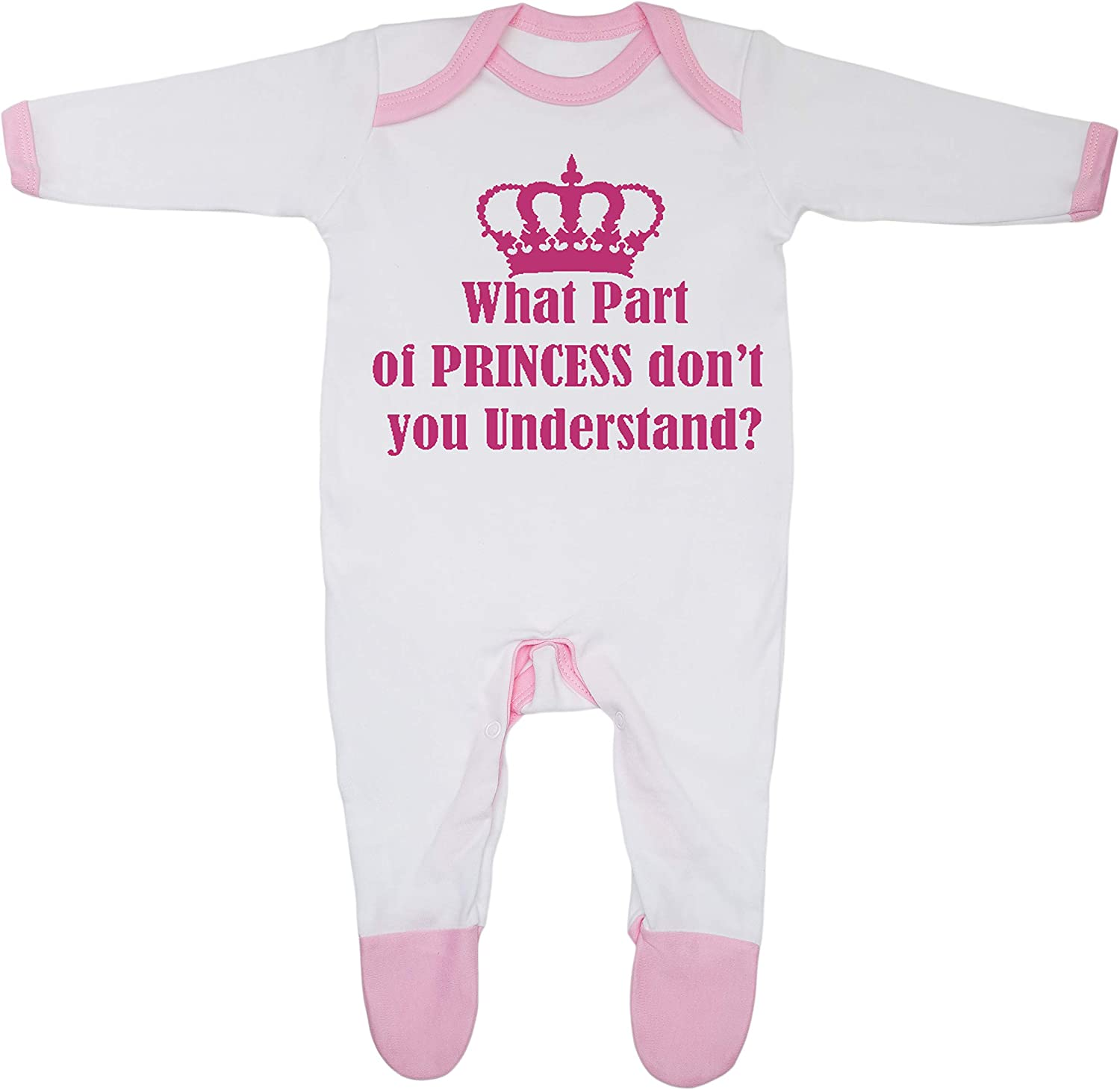 Cheekytots Baby-Strampler mit Aufschrift What Part Of Princess Dont You Understand 100/% Baumwolle hergestellt in England