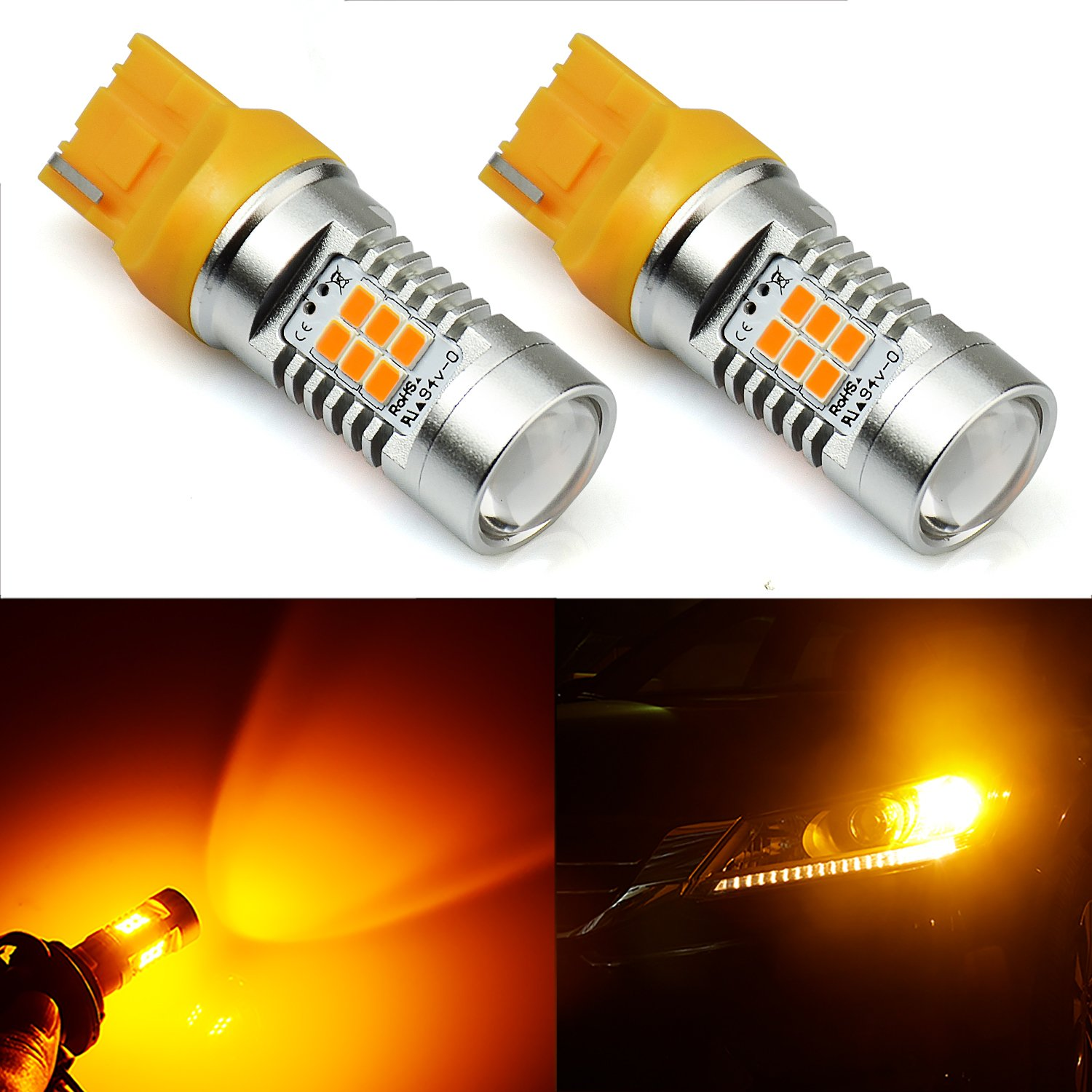 Jdm Astar 1260 Lumens Extremely Bright Px Chipsets 7440 1996 Honda Civic Firing Order 7441 T20 Led Bulbsamber Yellowbrightest Turn Signal Bulb On The Market Automotive