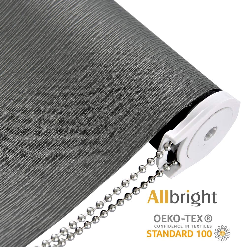 ALLBRIGHT Blackout Window Roller Shades, Striped Jacquard Thermal Insulated and UV Protection Gray Blackout Blinds, Easy Installation for Home and Office (35 x 72 inches, Slate Grey)