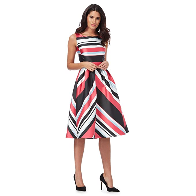 Debut Womens Multi-Coloured Miami Striped Prom Dress 24: Debut: Amazon.co.uk: Clothing