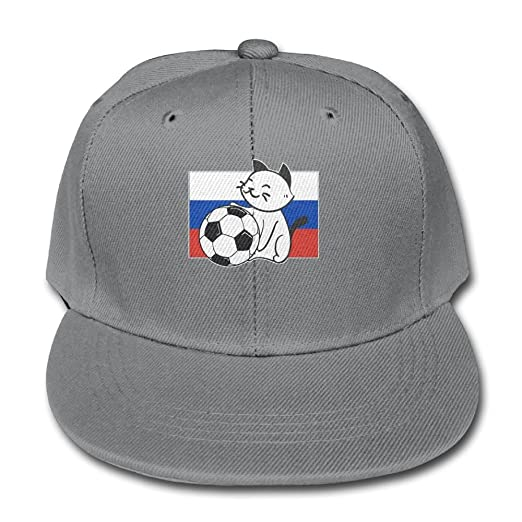 Plain Snapback Smiling Russia Cat and Soccer Kids Solid Color Baseball Hat  Boys 6cb25808087