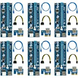 (6 Pack) PCIe 6-Pin 1X to 16X Powered Riser Adapter Card 164P with 6 Pin PCI-E to SATA Power Cable, 60cm USB 3.0 Cable Mining Dedicated Graphics Card (Blue)