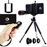 Lens and Bluetooth Shutter Remote Kit for Apple iPhone 8 and iPhone 7 - Includes Bluetooth Camera Remote, 8x Telephoto, Fisheye, Macro, Wide Angle Lens, Tripod, Holder, Hard Case