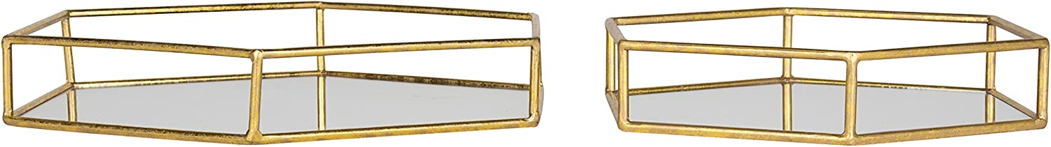 2 Piece Black Kate and Laurel Felicia Nesting Metal Mirrored Decorative Trays