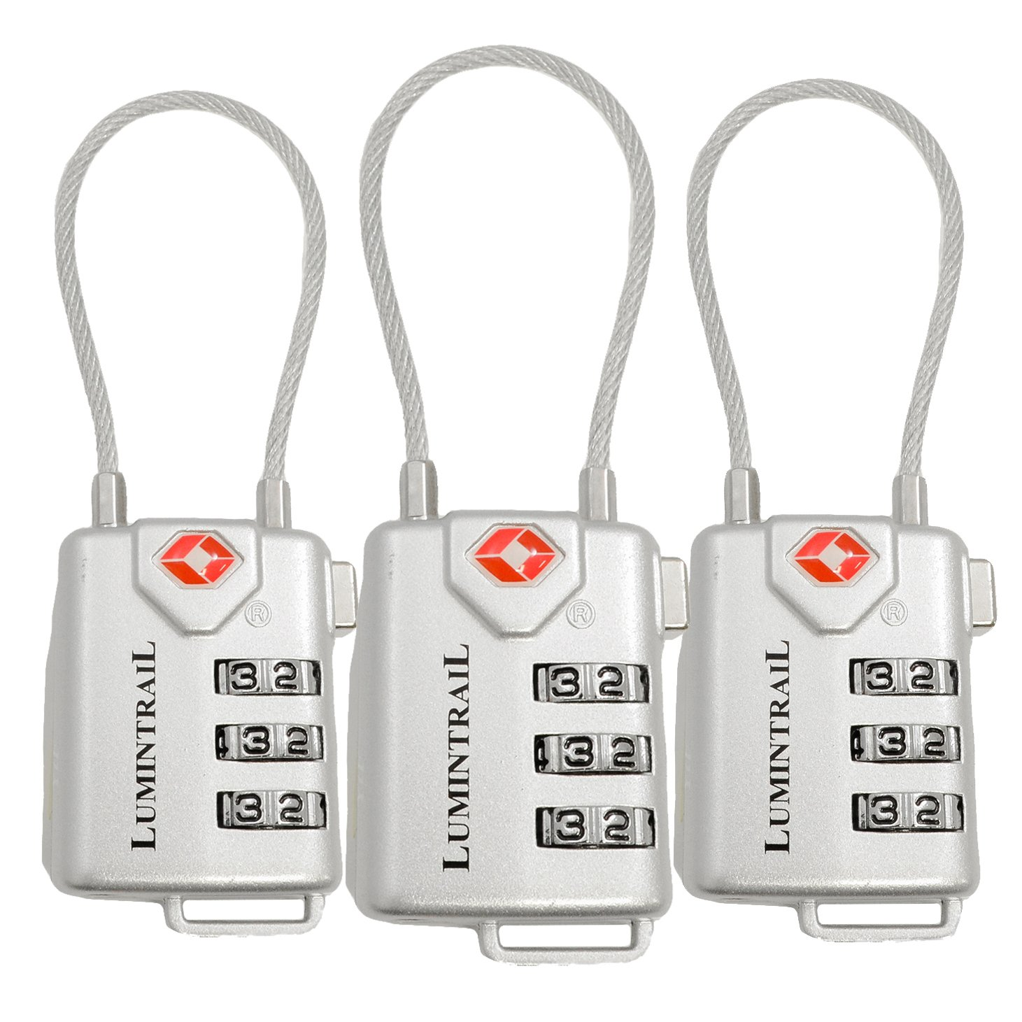 Lumintrail 3 Pack TSA Approved Cable Travel Locks Combination Luggage (Silver)