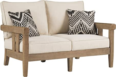 Signature Design by Ashley - Gerianne Outdoor Loveseat - Contemporary - Eucalyptus Wood Frame - Grayish Brown