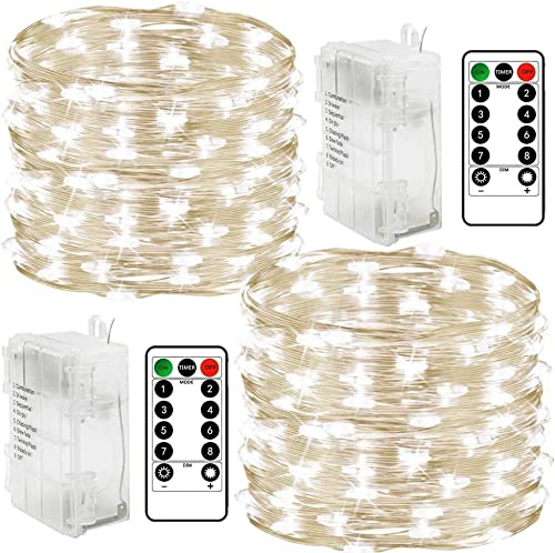 Chinety Fairy Lights Battery Christmas String Lights Upgraded 2 Pack 300 LED Waterproof 8 Modes 99 ft Copper Wire Lights with Remote Timer Twinkle Starry String Lights for Bedroom Christmas Party