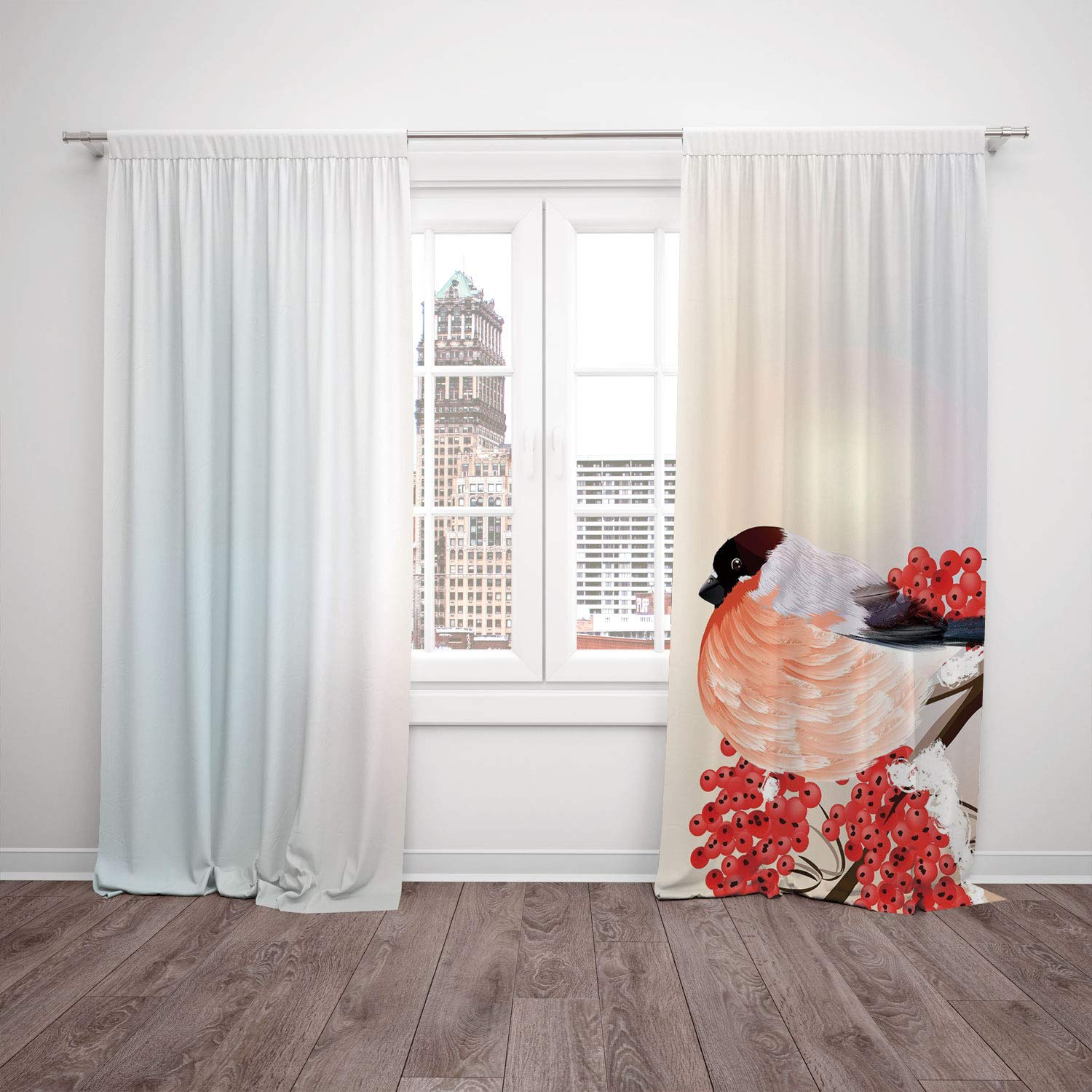 2 Panel Set Satin Window Drapes Kitchen Curtains,Rowan Christmas Themed Corner Composition with Bird Sitting on Wild Berry Branch Salmon Red Brown,for Bedroom Living Room Dorm Kitchen Cafe