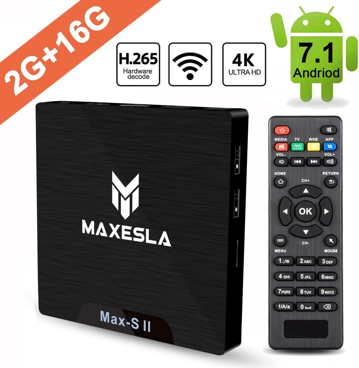 Smart TV Box Android 7.1 - Maxesla MAX-S II Mini TV Box de 2GB RAM + 16GB ROM, 2018 Última CPU Amlogic S905W, WiFi 2.4GHz, Doble USB, H.265, HDMI & AV, 4K