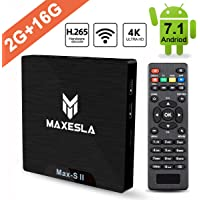 TV Box Android 7.1 Newest - Maxesla MAX-S II Smart TV Box with 2GB RAM + 16GB ROM, Upgrade Amlogic S905W Chipset, True 4K UHD Playing, Support H.265 Video Decoder, 2.4GHz Wifi Internet Media Player wi