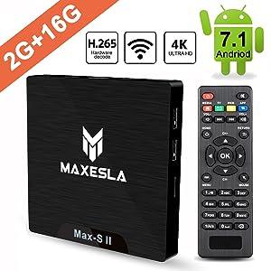 Smart TV BOX Android 7.1 - Maxesla MAX-S II Mini TV Box de 2GB RAM + 16GB ROM, 2018 Última CPU Amlogic S905W, WIFI 2.4GHz, Doble USB, H.265, HDMI & AV, 4K UHD Media Player