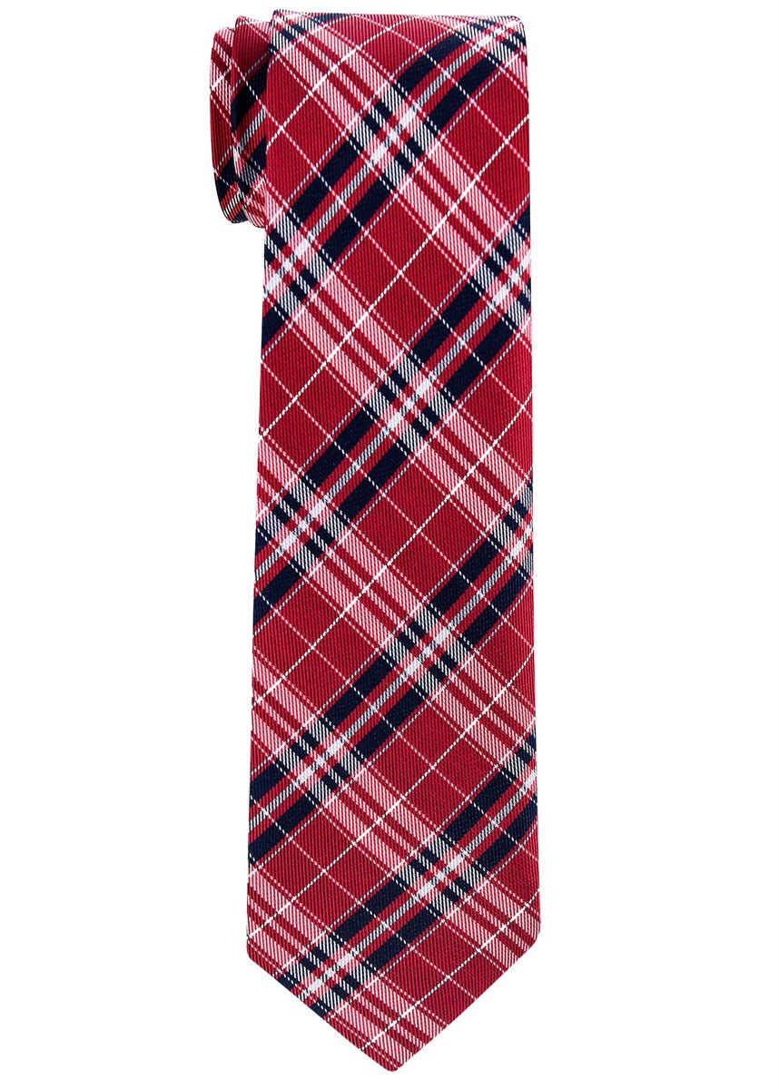 Retreez Stylish Plaid Checkered Woven Boy's Tie (8-10 years) - Red and Navy Blue