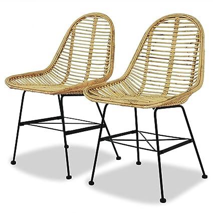 Strange Vidaxl 2X Dining Chair Natural Rattan Wicker Colonial Rustic Kitchen Home Seat Machost Co Dining Chair Design Ideas Machostcouk