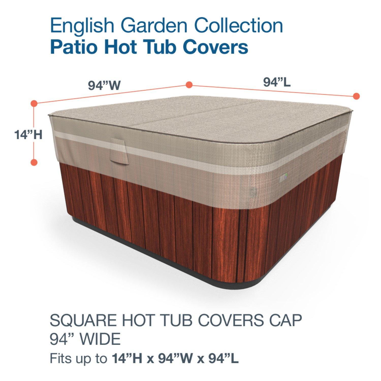 Amazon.com : Budge English Garden Square Hot Tub Cover, Large (Tan ...