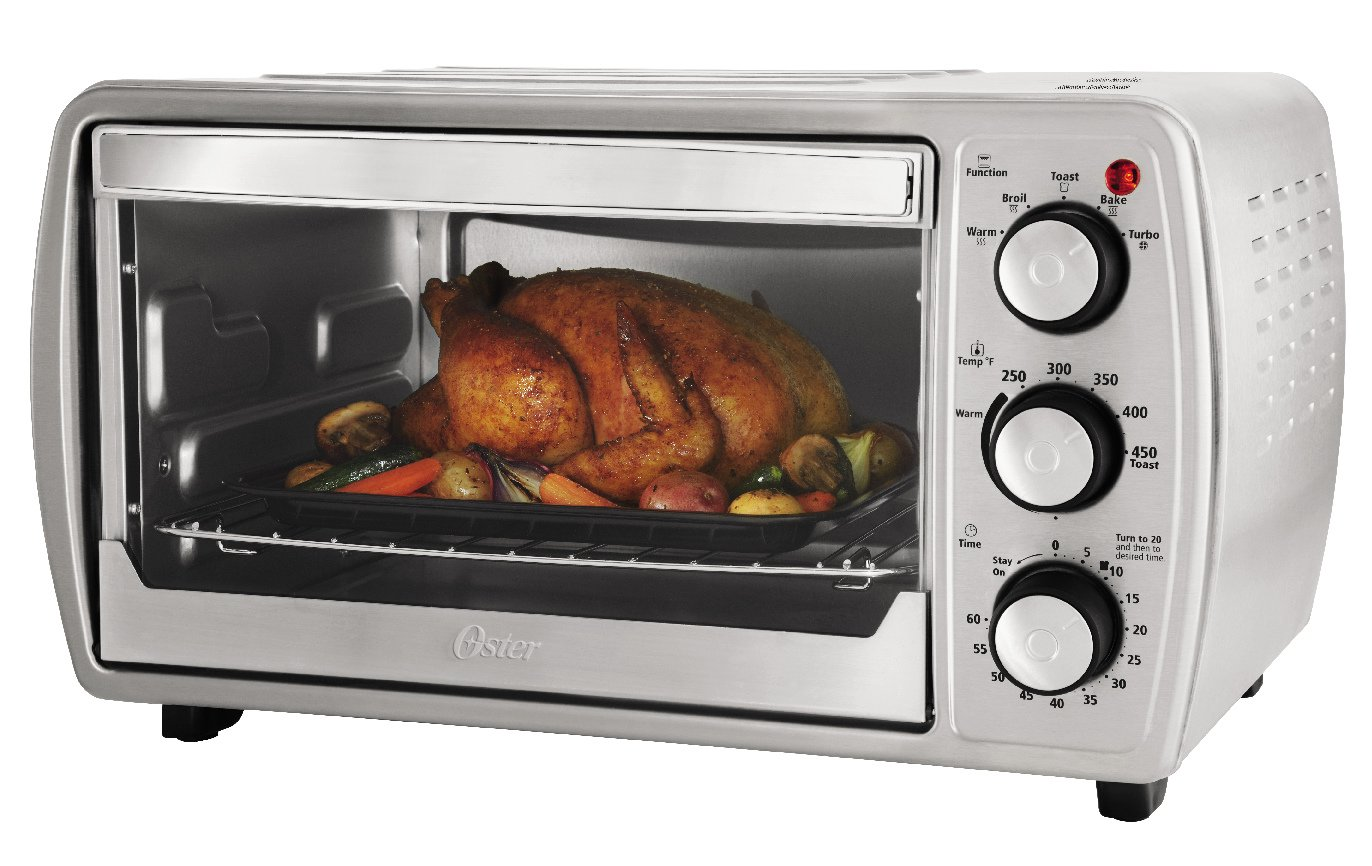 Oster TSSTTVCG02 Oster 6 Slice Convection Toaster Oven with Integrated Broil Rack, Brushed Stainless Steel