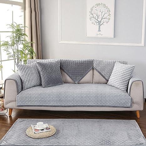 HM&DX Corto Felpa Funda para sofá Multi-Size Acolchado ...