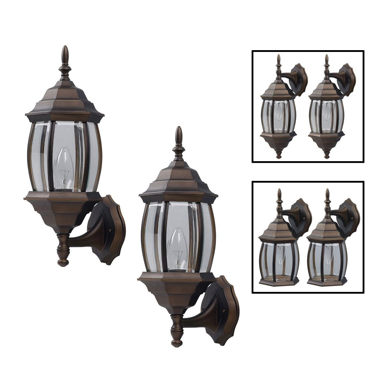 Outdoor Exterior Lantern Light Fixture Wall Sconce Twin Pack Oil Rubbed Bronze Com