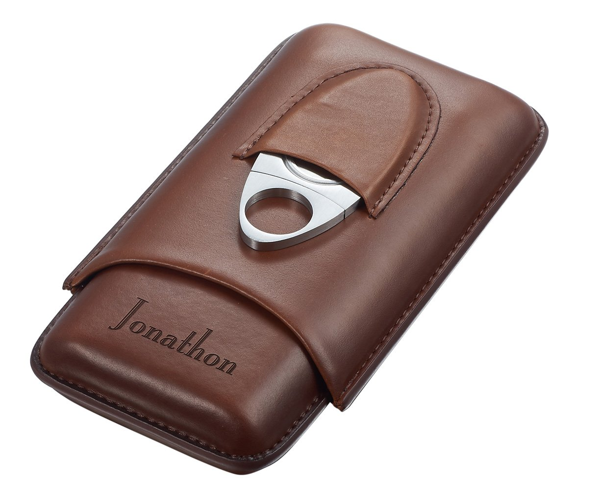 Personalized Legend Saddle Leather 3-Cigar Case and Cutter with Free Engraving
