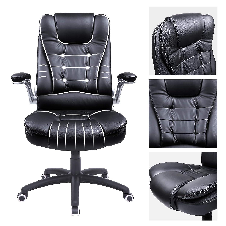 SONGMICS Bürostuhl mit hoher hoher hoher Rückenlehne, ergonomischer Chefsessel mit klappbaren Armlehnen, mit verdicktem Kopfkissen und Sitzpolster, schwarz, OBG51B 306f07