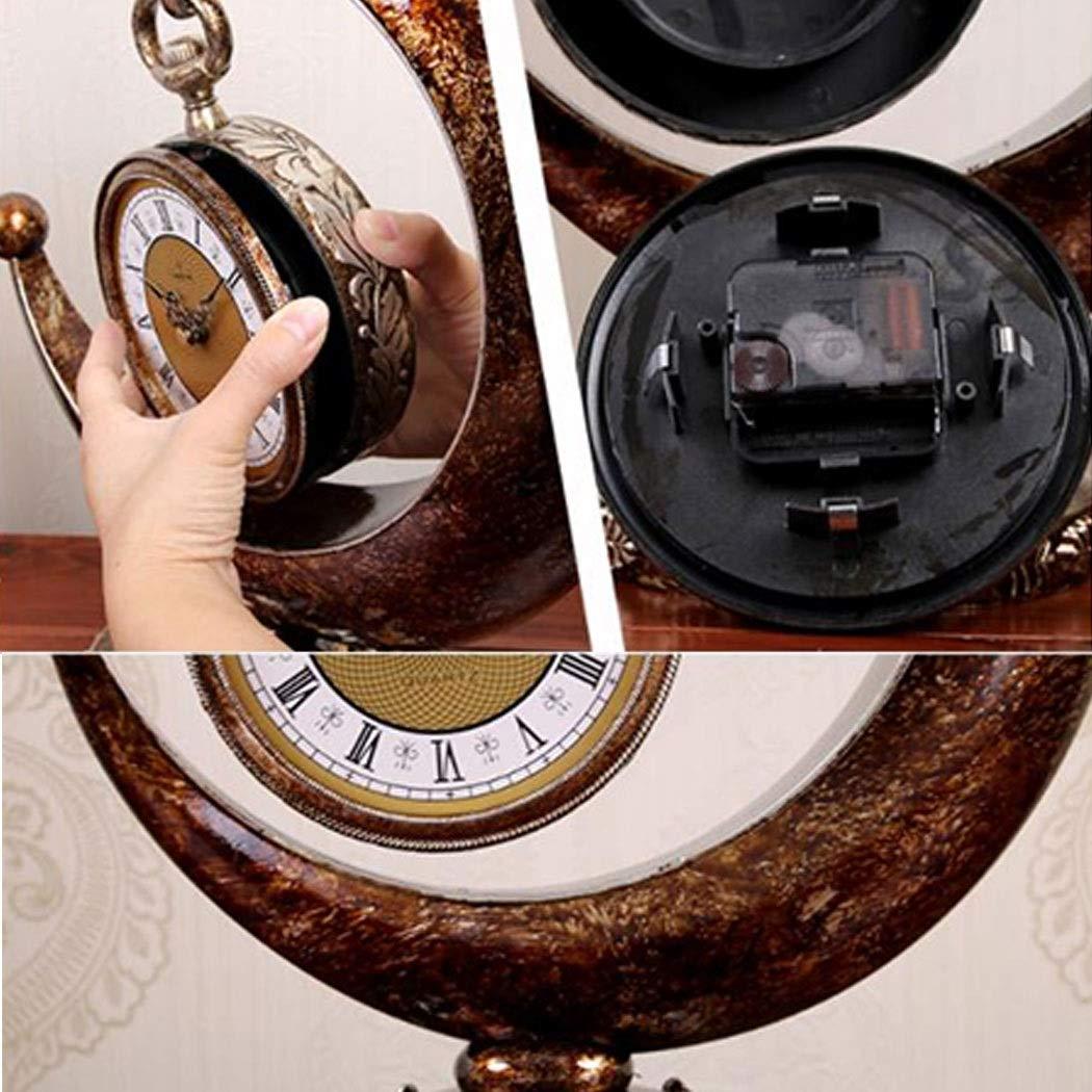 HONGNA European Plastic Clock Ornaments Living Room Home Clocks Atmosphere Sitting Clocks Desktop Pendulum Clock Creative Desk Clock Desktop Clocks 12 Inches (Color : Brown, Size : 12 inches) by HONGNA (Image #4)