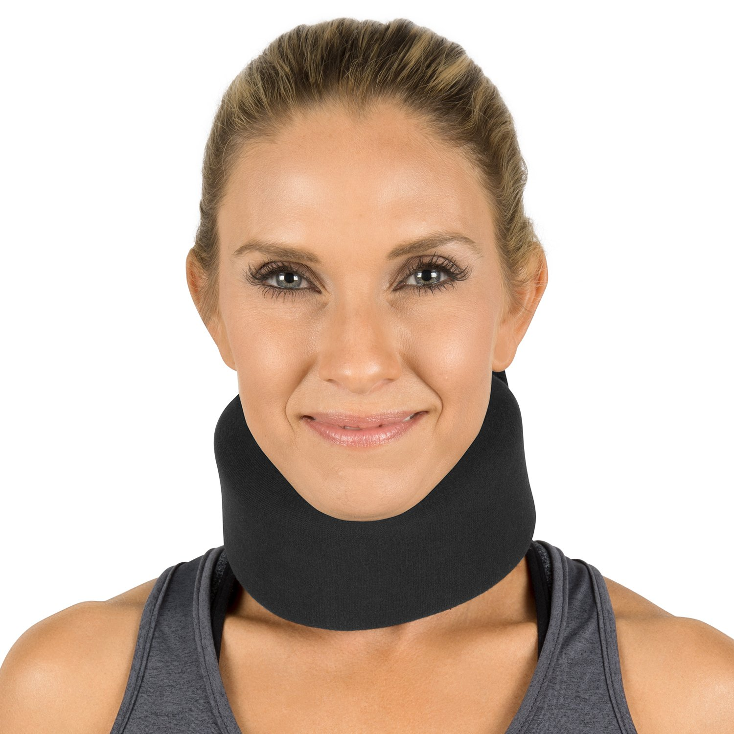 Neck Brace by Vive - Cervical Collar - Adjustable Soft Support Collar Can Be Used During Sleep - Wraps Aligns & Stabilizes Vertebrae - Relieves Pain & Pressure in Spine (Thin, Black)