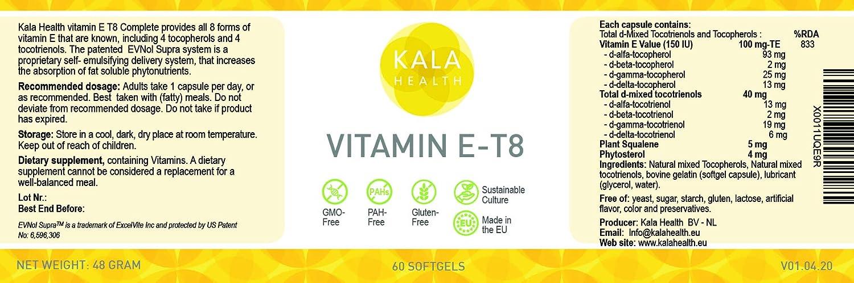 Cápsulas blandas de vitamina E-8 de Kala Health: proporciona las 8 formas de vitamina E, incluidos 4 tocoferoles y 4 tocotrienoles, el suplemento de vitamina E más completo disponible: Amazon.es: Salud y