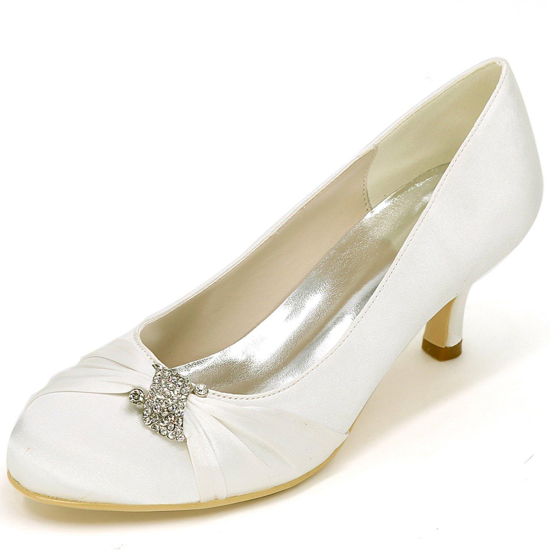 Marfil Eleboeb zapatos De Boda De Las mujeres Dama De Honor del Gatito Sandalias De Marfil Tacones Bajos EstáNdar Nuevo   6.5cm TacóN