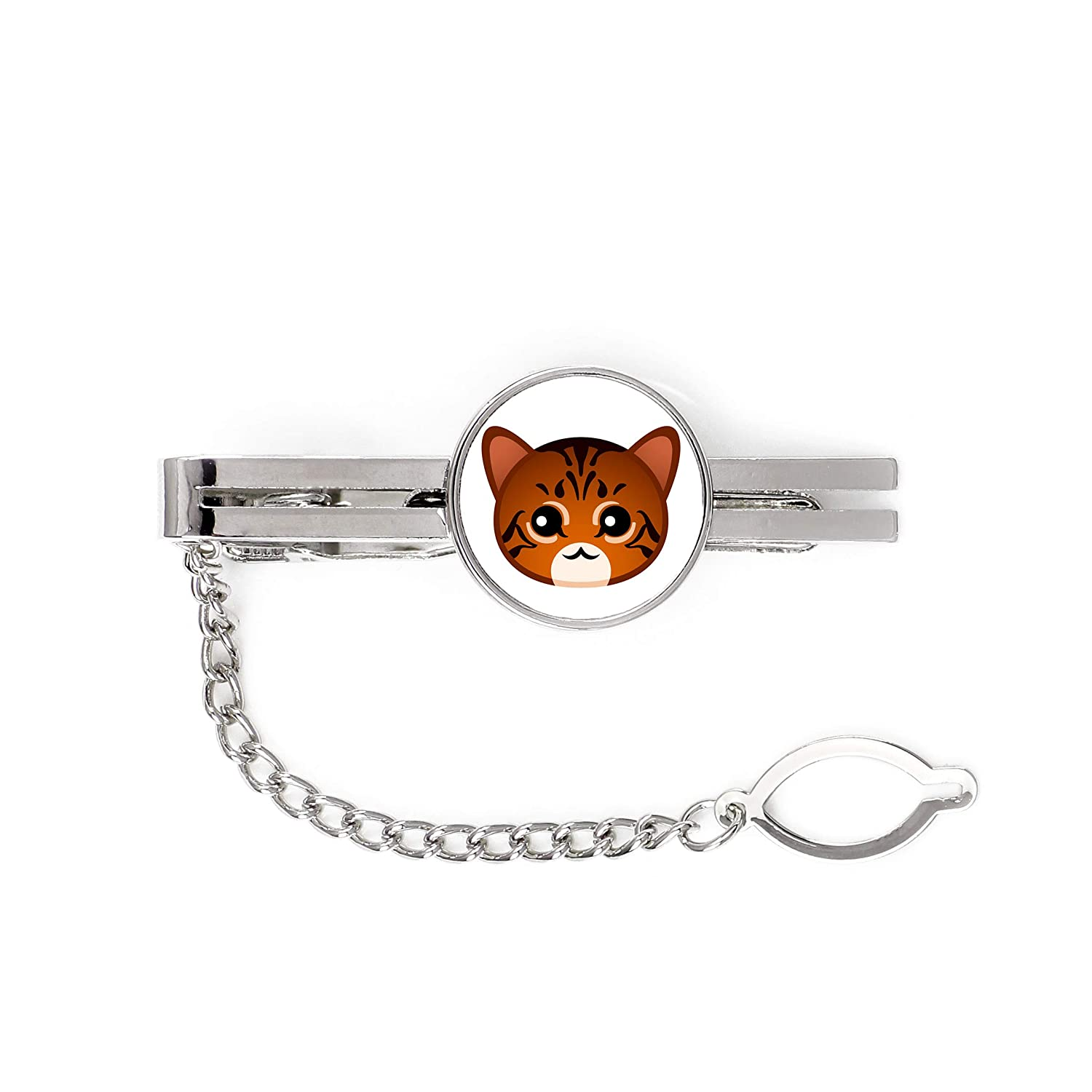 Mens Jewelry a tie pin with a cat Toyger a with a Cute Artdog cat