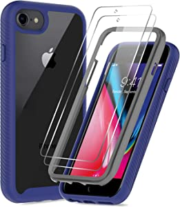 iPhone SE 2020 Case, iPhone 8 Case, iPhone 7/ 6s/6 Case with Tempered Glass Screen Protector [2 Pack], LeYi Full-Body Shockproof Hybrid Bumper Phone Cover Case for Apple iPhone SE/8/7/6s/6, Navy Blue
